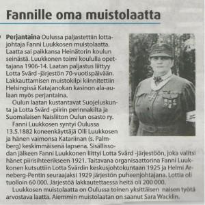 Oulu-lehden artikkeli Fanni Luukkosen muistolaatan asettamisesta 13.9.2014