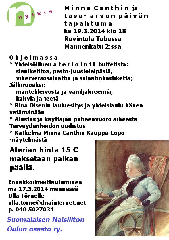 Minnan päivä juhla Tubassa 19.3. klo 18