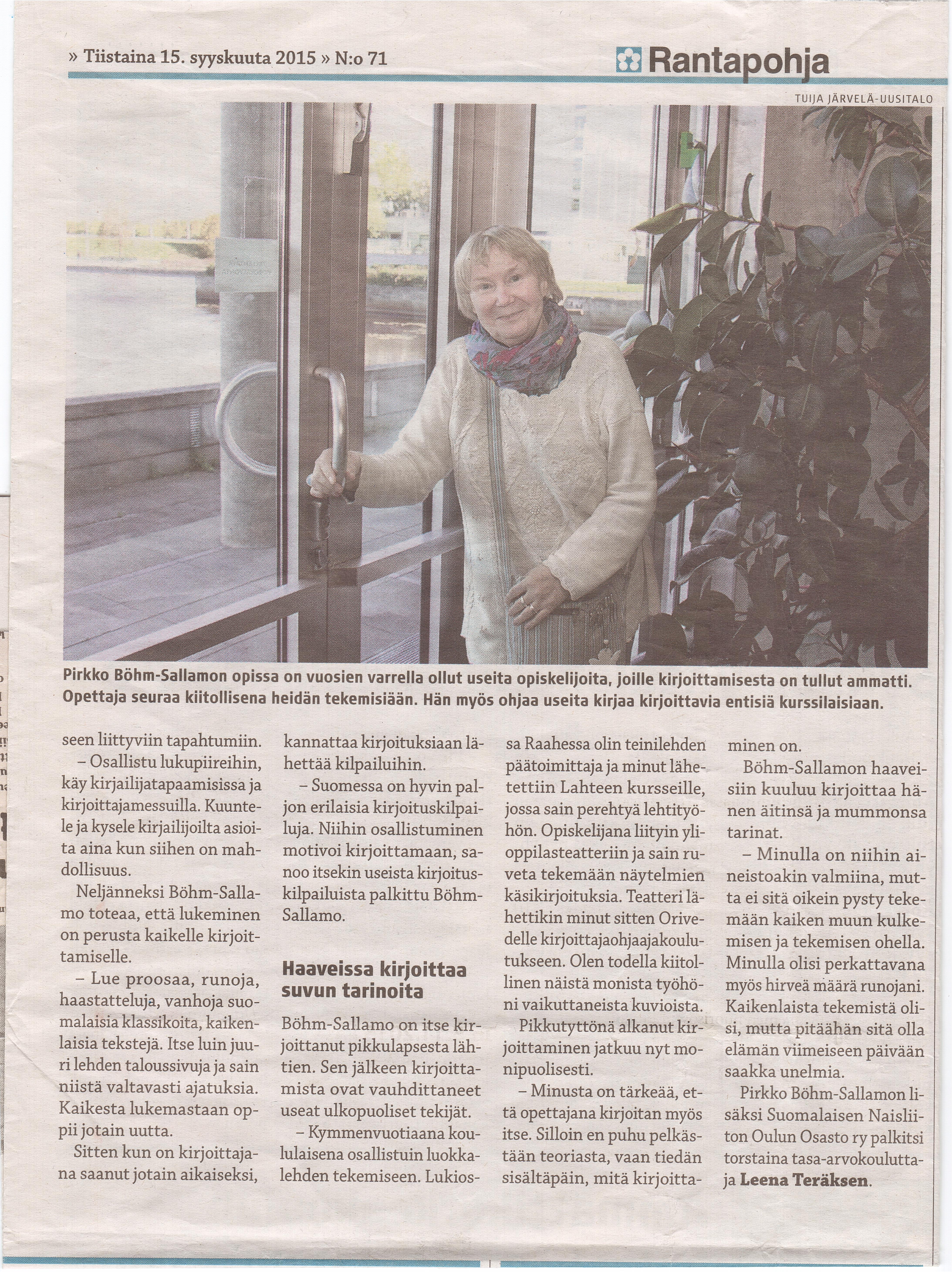 Sanomalehti Rantapohja kirjoitti Oulun stipendien saajista