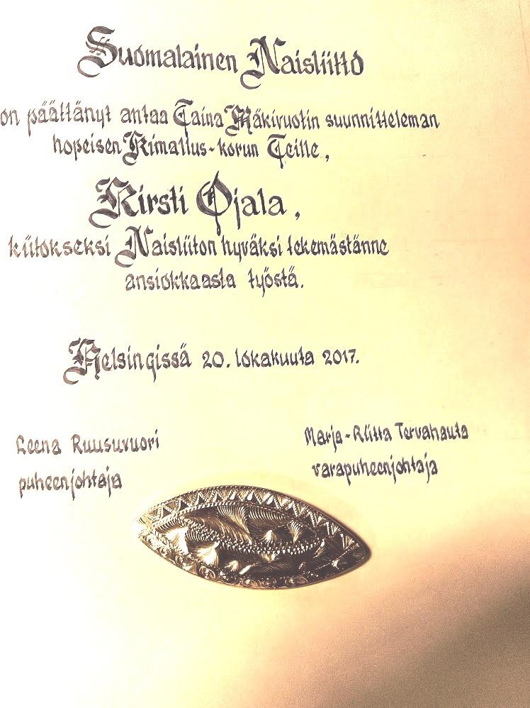 Suomalainen Naisliitto kiitteli toimijoita 20.10.2017