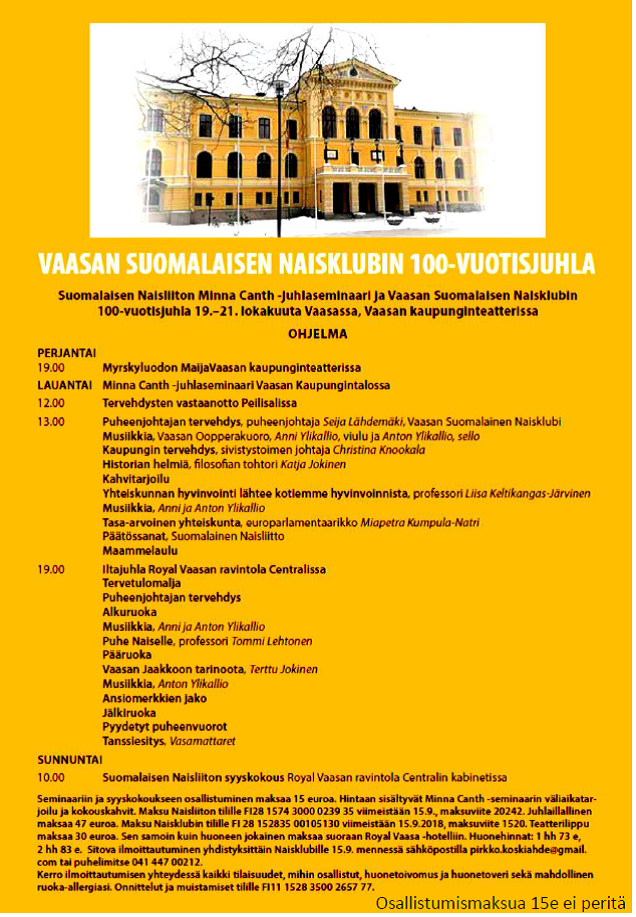 Vaasan Suomalaisen Naisklubin 100-vuotisjuhla 20.10.2018
