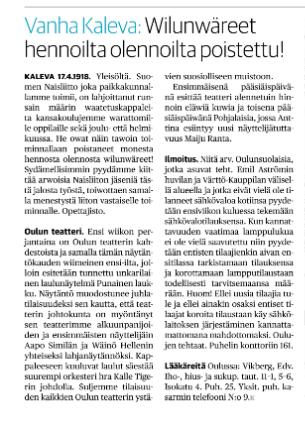 Oulun Naisliittoa kiiteltiin Kalevassa 17.4.1918