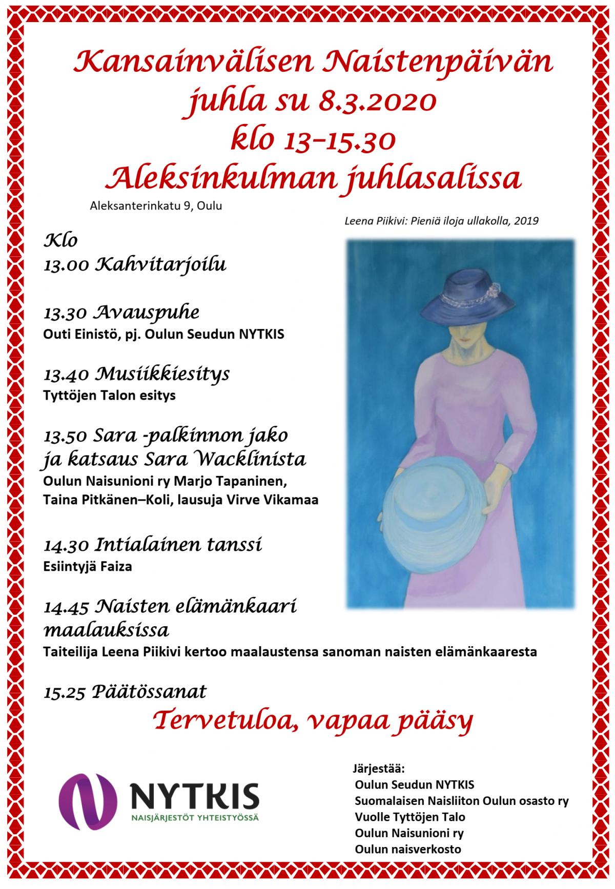 Naisten päivän juhla 8.3.2020 klo 13.00 -15.30